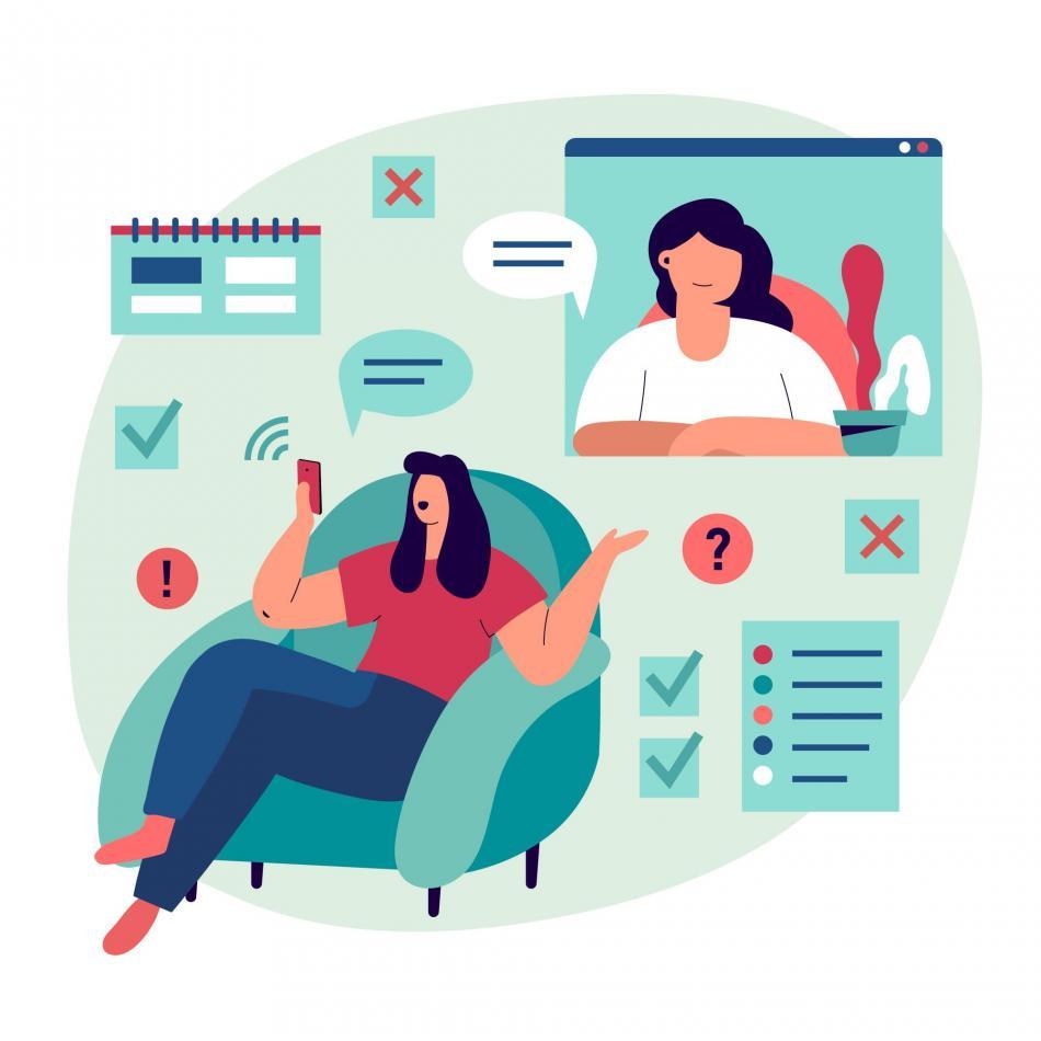 Ilustrasi konsultasi dokter via online dengan aplikasi halodoc.com, freepik.com